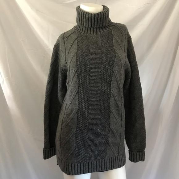 Frank + Oak Grey Knit Turtleneck Sweater